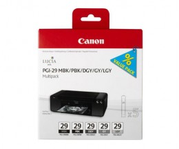 6 Tinteiros Originais, Canon PGI-29 MBK / PBK / DGY / GY / LGY / CO