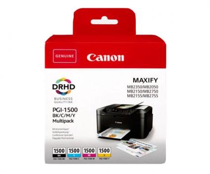 4 Tinteiros Originais, Canon PGI-1500 Preto 35ml + Cor 12ml ~ 1.200 / 1.000 Paginas