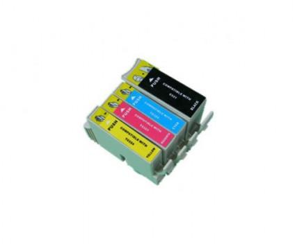 4 Tinteiros Compativeis, Epson T0321-T0324 Preto 36ml + Cor 18ml