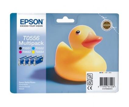 4 Tinteiros Originais, Epson T0556 / T0551-T0554 Preto 8ml + Cor 8ml