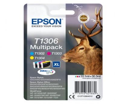 3 Tinteiros Originais, Epson T1306 / T1302-T1304 Cor 10.1ml