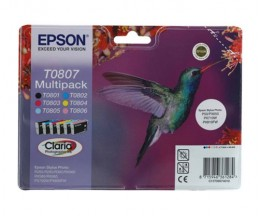 6 Tinteiros Originais, Epson T0807 / T0801-T0806 Preto 7.4ml + Cor 7.2ml