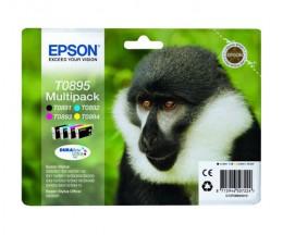 4 Tinteiros Originais, Epson T0895 / T0891-T0894 Preto 5.8ml + Cor 3.5ml