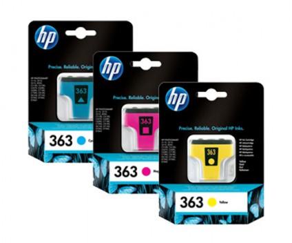 3 Tinteiros Originais, HP 363 Cor 4ml