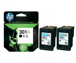 2 Tinteiros Originais, HP 301 XL Preto 8ml