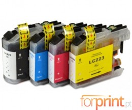 4 Tinteiros Compativeis, Brother LC-221 / LC-223 Preto 16.6ml + Cor 9ml