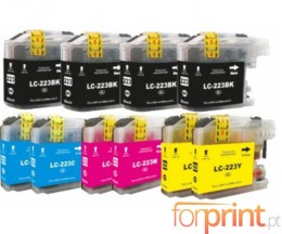 10 Tinteiros Compativeis, Brother LC-221 / LC-223 Preto 16.6ml + Cor 9ml