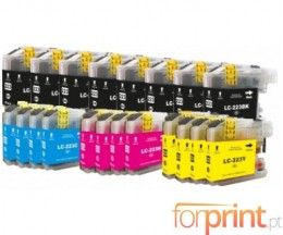 20 Tinteiros Compativeis, Brother LC-221 / LC-223 Preto 16.6ml + Cor 9ml