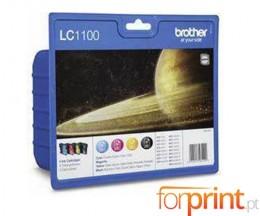 4 Tinteiros Originais, Brother LC1100 Preto 9.5ml + Cor 5.5ml