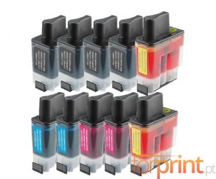 10 Tinteiros Compatíveis, Brother LC-900 Preto 20ml + Cor 12ml