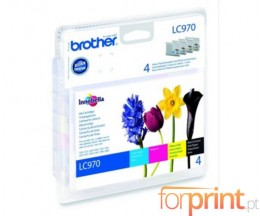 4 Tinteiros Originais, Brother LC970VALBPDR Preto 9ml + Cor 6ml