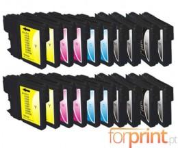 20 Tinteiros Compativeis, Brother LC-980 XL / LC-1100 XL Preto 28ml + Cor 18ml