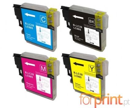 4 Tinteiros Compativeis, Brother LC-985 XL Preto 28ml + Cor 18ml