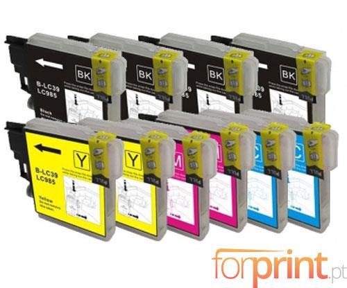 10 Tinteiros Compativeis, Brother LC-985 XL Preto 28ml + Cor 18ml