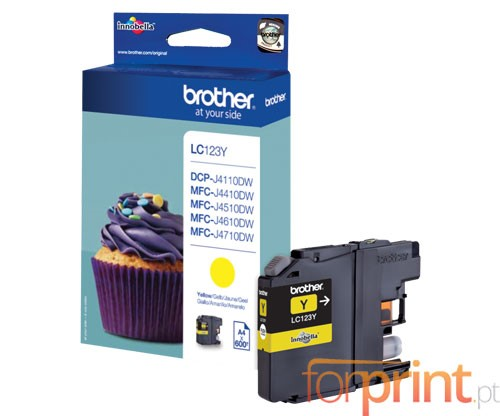 Tinteiro Original Brother LC123Y Amarelo 6.6ml ~ 600 Paginas