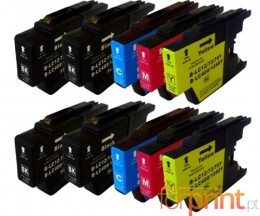 10 Tinteiros Compativeis, Brother LC-1220 / LC-1240 / LC-1280 Preto 32.6ml + Cor 16.6ml