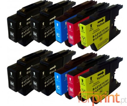 10 Tinteiros Compativeis, Brother LC-1220 / LC-1240 / LC-1280 Preto 32.6ml + Cor 16.6ml