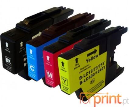 4 Tinteiros Compatíveis, Brother LC-1220 / LC-1240 / LC-1280 Preto 32.6ml + Cor 16.6ml