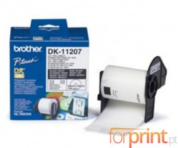 Etiquetas Originais, Brother DK11207 DVD / CD 58 mm 100 / Rolo Branco