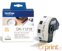 Etiquetas Originais, Brother DK11218 24mm Redondas 1000 / Rolo Branco