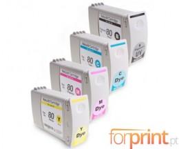 4 Tinteiros Compativeis, HP 80 Preto + Cor 400ml