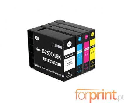 4 Tinteiros Compativeis, Canon PGI-2500 XLBK Preto 74.6ml + Cor 20.4ml
