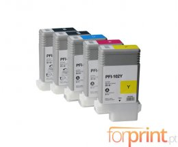 5 Tinteiros Compativeis, Canon PFI-102 Preto + Cor 130ml