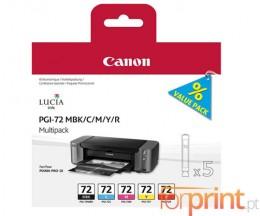5 Tinteiros Originais, Canon PGI-72 MBK / C / M / Y / R 14ml