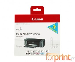 5 Tinteiros Originais, Canon PGI-72 PBK / GY / PM / PC / CO 14ml