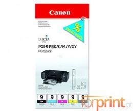 5 Tinteiros Originais, Canon PGI-9 PBK / C / M / Y / GY 14ml