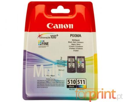 2 Tinteiros Originais, Canon PG-510 / CL-511 Preto 9ml + Cor 9ml