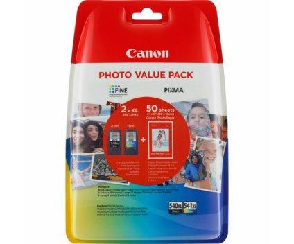 2 Tinteiros Originais, Canon PG-540 XL / CL-541 XL Preto 21ml + Cor 15ml + 50 Folhas 10x15cm
