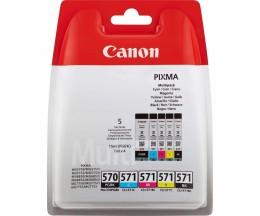 5 Tinteiros Originais, Canon PGI-570 / CLI-571 Preto 15ml + Cor 7ml