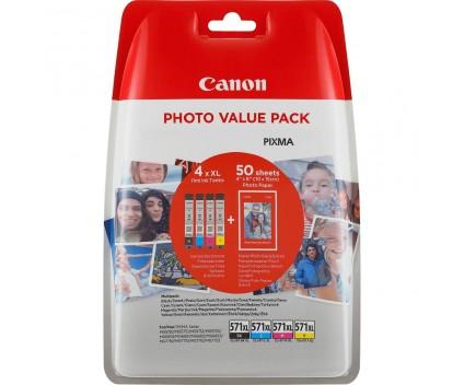 4 Tinteiros Originais, Canon CLI-571XL Cor 11ml  + 50 Folhas 10x15cm