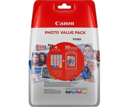 4 Tinteiros Originais, Canon CLI-571 C / M / Y / PBK + Papel Foto