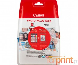 4 Tinteiros Originais, Canon CLI-581 XL C / M / Y / PBK + Papel Foto