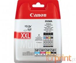4 Tinteiros Originais, Canon CLI-581 XXL C / M / Y / PBK