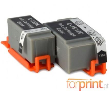2 Tinteiros Compativeis, Canon BCI-15 / BCI-16 Preto 5.2ml + Cor 6.3ml