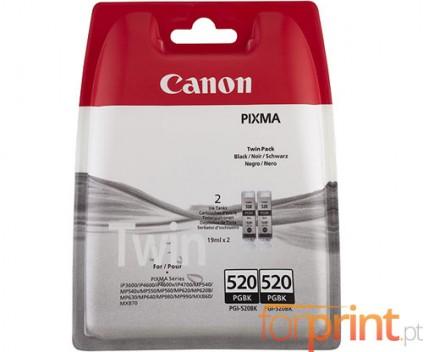 2 Tinteiros Originais, Canon PGI-520 Preto 19ml