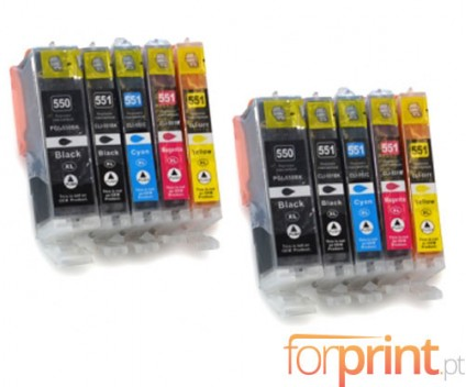 10 Tinteiros Compativeis, Canon PGI-550 XL / CLI-551 Preto 22ml + Cor 13ml