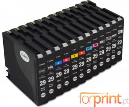 12 Tinteiros Compativeis, Canon PGI-29 Preto 36ml + Cor 36ml
