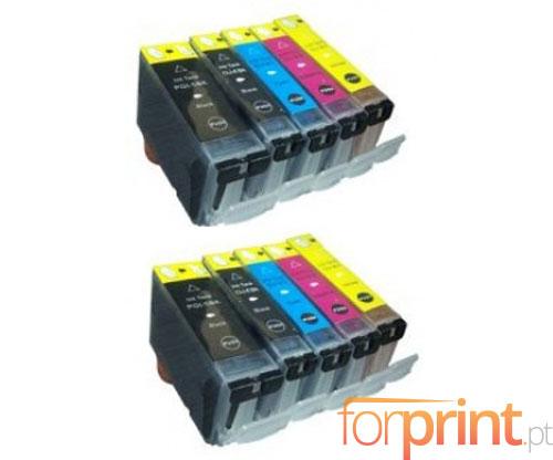 10 Tinteiros Compativeis, Canon PGI-5 / CLI-8 Preto 26.8ml + Cor 13.4ml