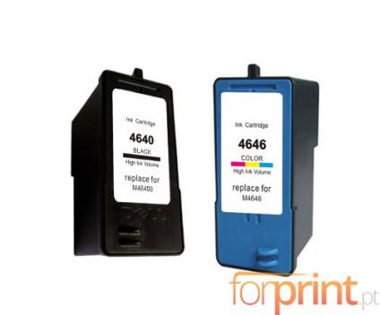 2 Tinteiros Compativeis, DELL M4646 Cor 15ml + M4640 Preto 21ml