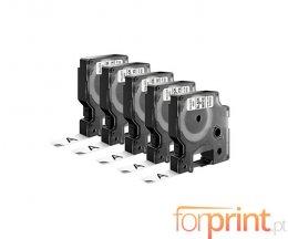 5 Fitas Compativeis, DYMO 45013 Branca 12mm x 7m