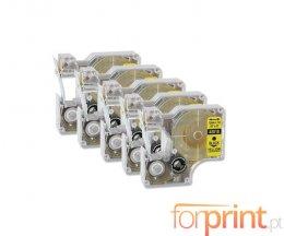 5 Fitas Compativeis, DYMO 45018 Amarelo 12mm x 7m
