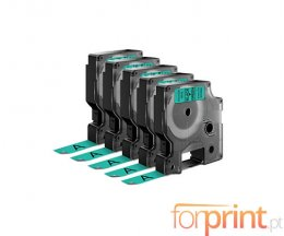 5 Fitas Compativeis, DYMO 45019 Verde 12mm x 7m