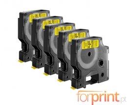 5 Fitas Compativeis, DYMO 45808 Amarelo 19mm x 7m