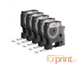 5 Fitas Compativeis, DYMO 45012 Vermelho / Transparente 12mm x 7m