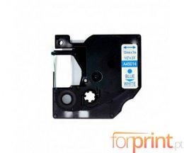 Fita Compativel DYMO 45014 AZUL / Branco 12mm x 7m