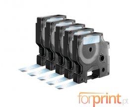 5 Fitas Compativeis, DYMO 45020 Branco / Transparente 12mm x 7m